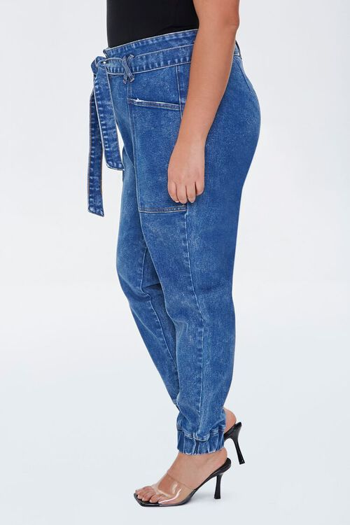 Plus Size Belted Denim Joggers, image 3