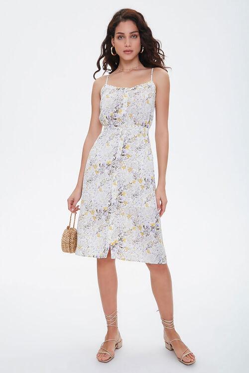 CREAM/MULTI Floral Chiffon Midi Dress, image 5