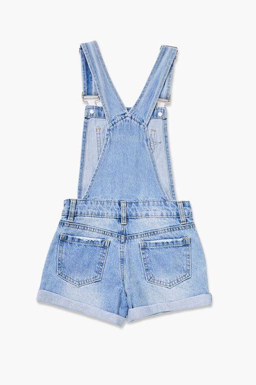 Girls Distressed Denim Overall Shorts (Kids), image 2