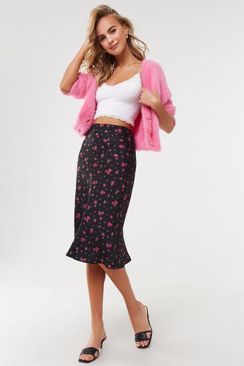 BLACK/MULTI Rose Floral Print Skirt, image 5