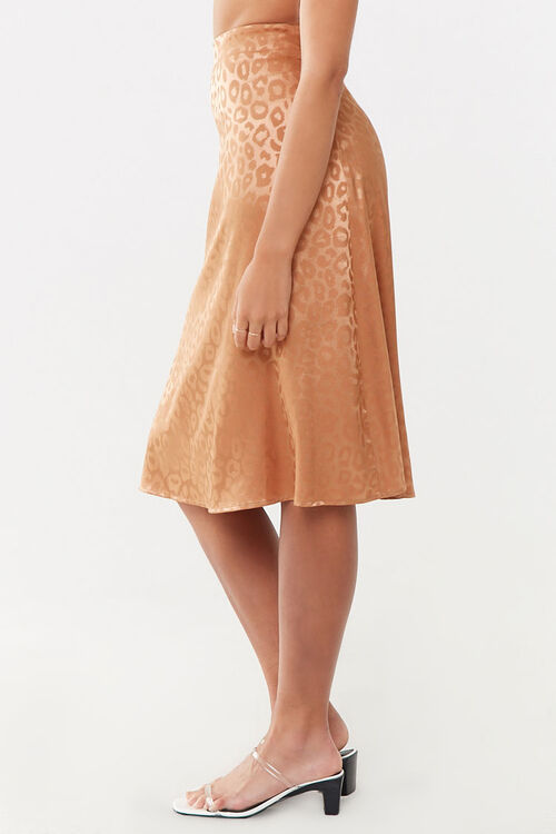 Satin Leopard Print Skirt, image 2