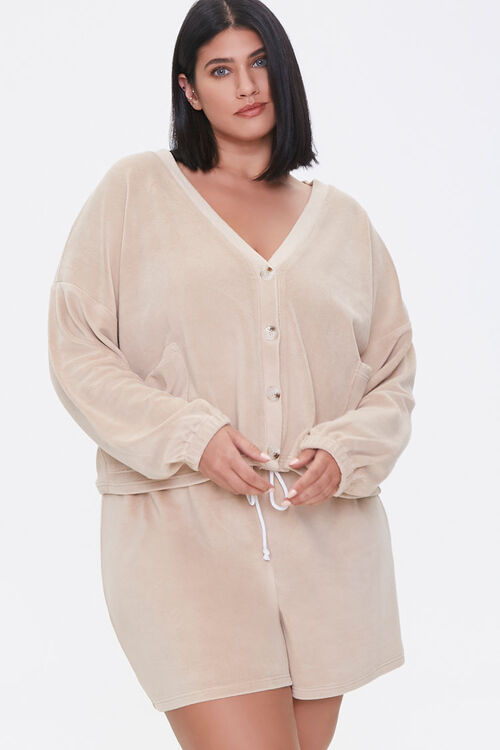 Plus Size Cardigan & Shorts Set, image 1