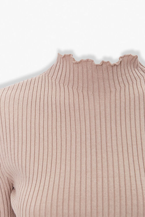 Ribbed Lettuce-Edge Sweater Top, image 3