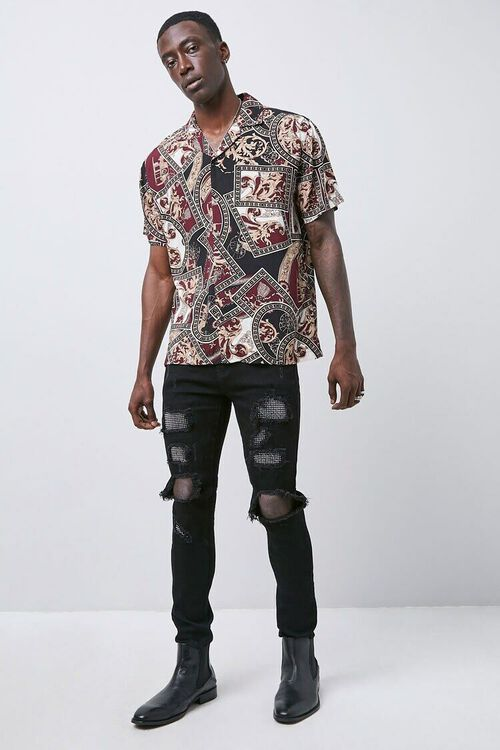 BLACK/SILVER Rhinestone Distressed Slim-Fit Jeans, image 4