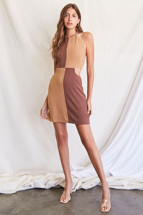 BROWN/LIGHT BROWN Colorblock Halter Mini Dress, image 4