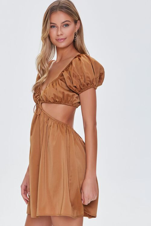 CHESTNUT Satin Puff Sleeve Mini Dress, image 2