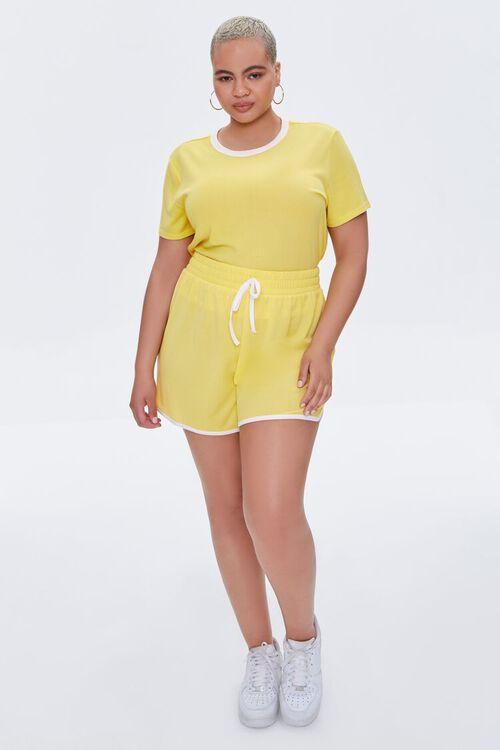 Plus Size Contrast-Trim Tee & Dolphin Shorts Set, image 4