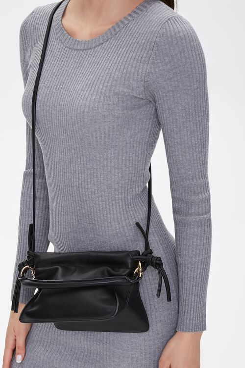 Faux Leather Open Top Crossbody Bag, image 1