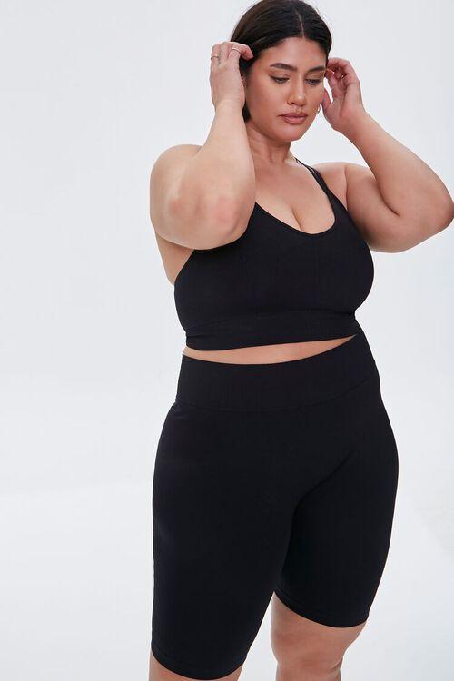 BLACK Plus Size High-Rise Biker Shorts, image 1