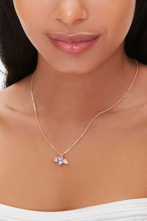 GOLD Faux Gem Heart Charm Necklace, image 1