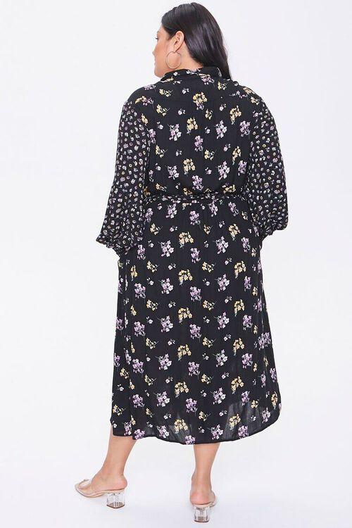 Plus Size Floral Print Buttoned Dress, image 3