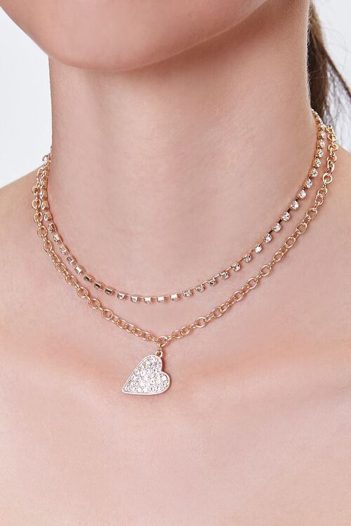 GOLD/CLEAR Heart Pendant Layered Necklace, image 1
