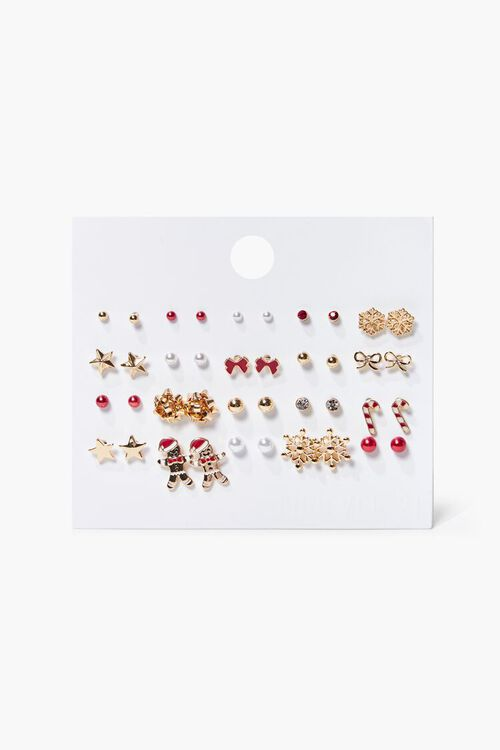 GOLD/CLEAR Christmas Stud Earring Set, image 1