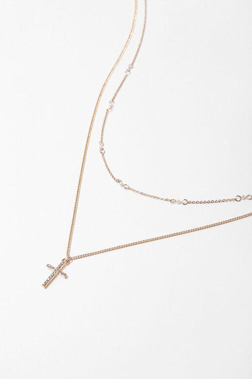Rhinestone Cross Pendant Necklace Set, image 2