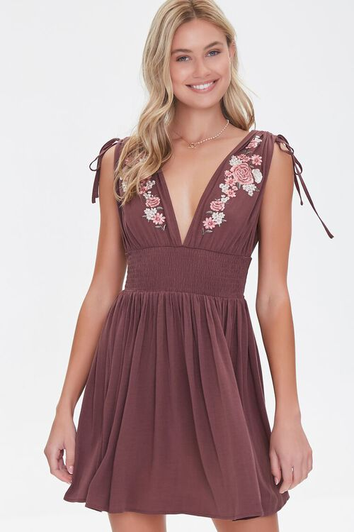 Floral Embroidered Mini Dress, image 1