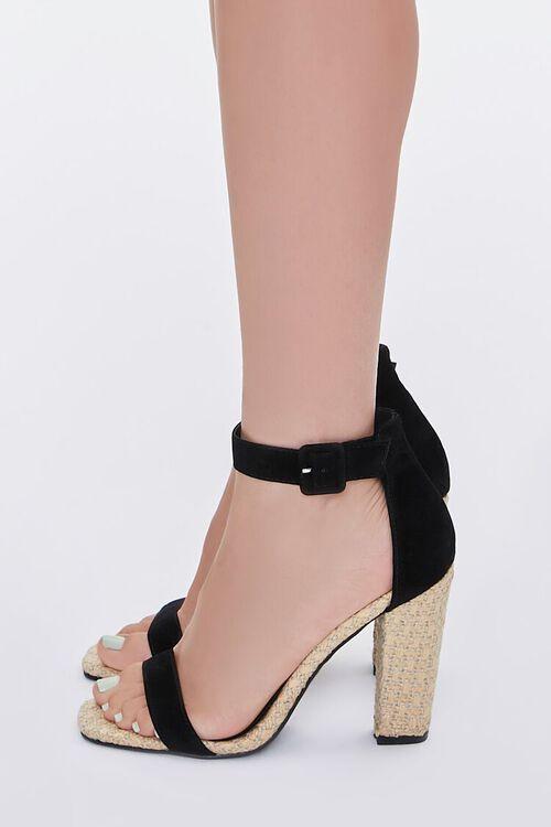 BLACK Faux Suede Basketwoven Block Heels, image 2