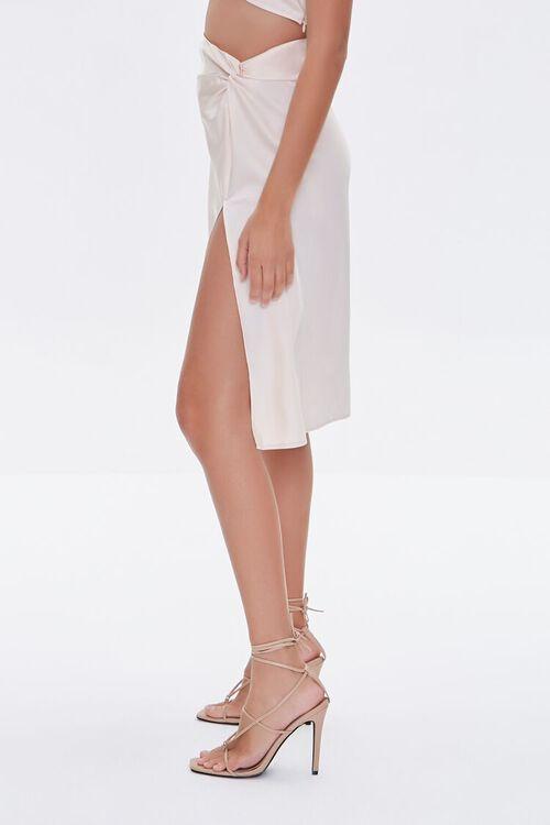 Gathered Satin Slit Skirt, image 3