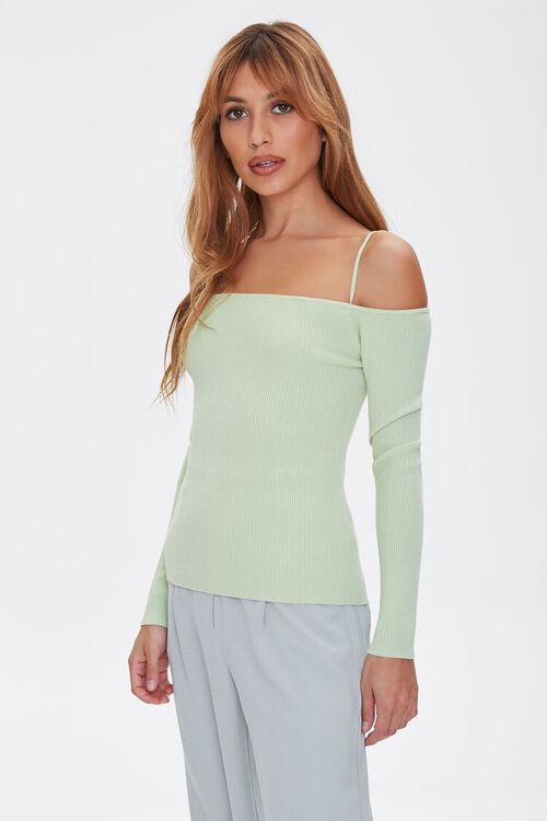 Sweater-Knit Off-the-Shoulder Top, image 1
