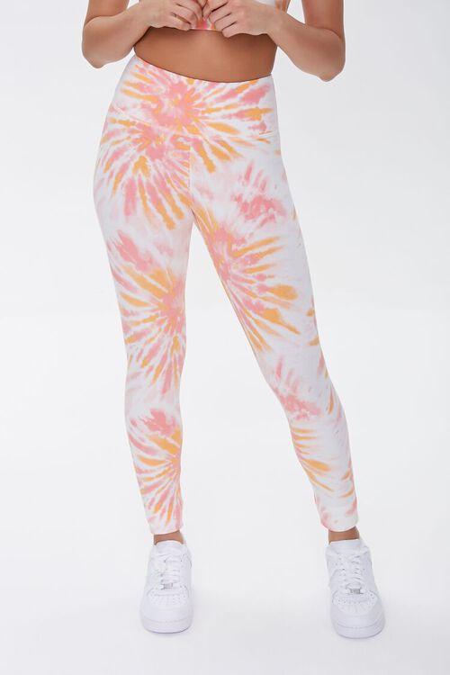 ORANGE/WHITE Active Tie-Dye Leggings, image 2