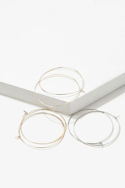 GOLD/SILVER Metal Hoop Earring Set, image 1