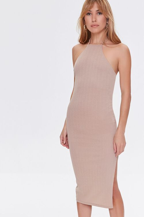 TAUPE Ribbed Knit Halter Dress, image 2