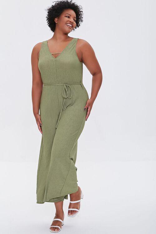 OLIVE Plus Size Wide Leg Cutout Jumpsuit, image 5