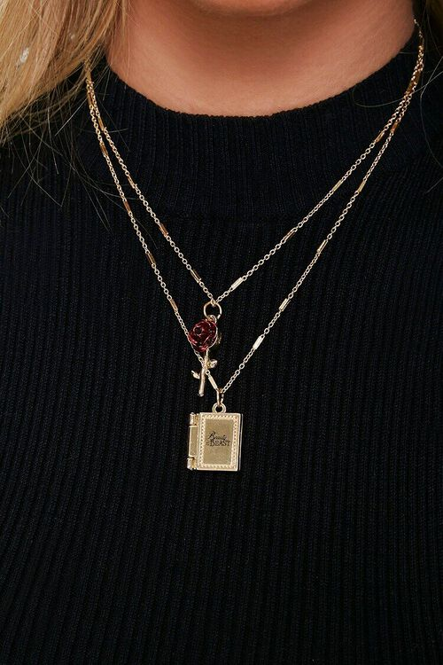 RED/GOLD Rose & Book Pendant Necklace, image 1