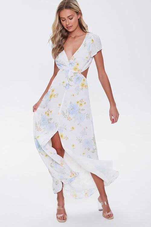 Floral Print Cutout Maxi Dress, image 1
