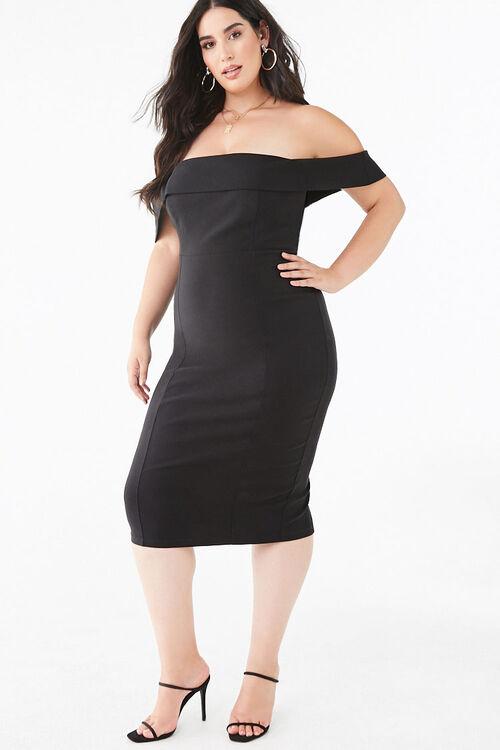 Plus Size Off-the-Shoulder Bodycon Dress, image 1