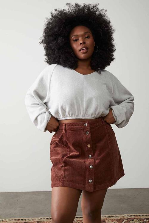Plus Size Buttoned Corduroy Skirt, image 1