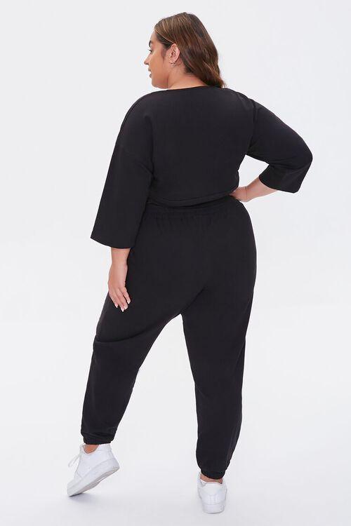 BLACK Plus Size Wrap Top & Joggers Set, image 3