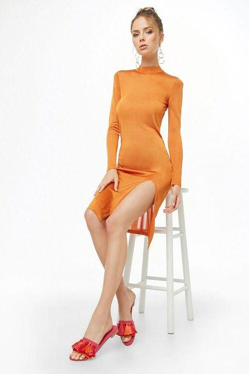 ORANGE Sheer Mock Neck Dress, image 4