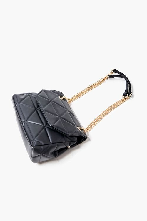 BLACK Quilted Faux Leather Crossbody Bag, image 4