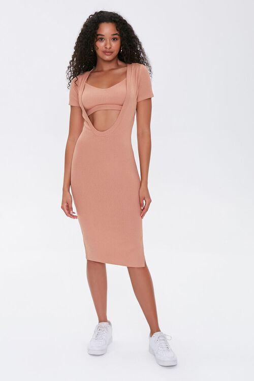 Ribbed Cutout Dress & Cropped Cami Set, image 4