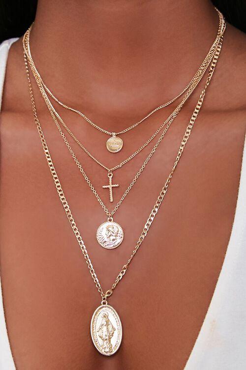 GOLD Ancient Coin Pendant Necklace Set, image 1
