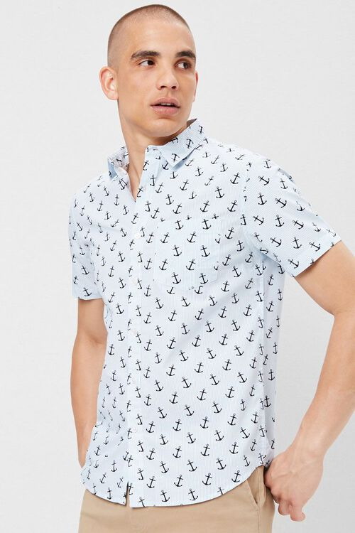 Fitted Pinstriped Anchor Print Shirt, image 1