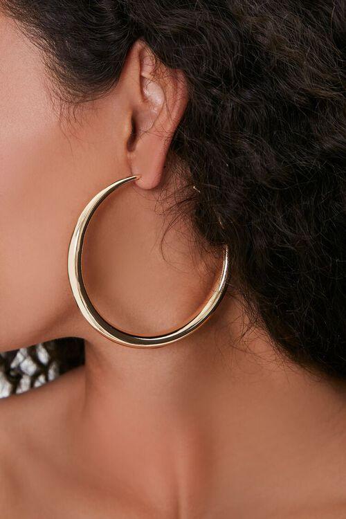 GOLD Smooth Hoop Earrings, image 1