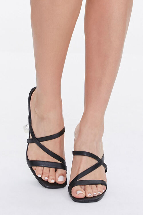 BLACK Strappy Faux Leather Heels, image 4