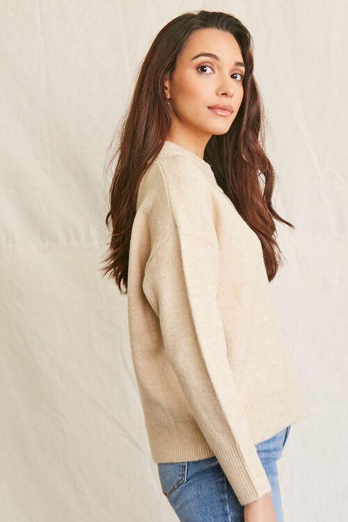 OATMEAL Brushed Split-Neck Sweater, image 2