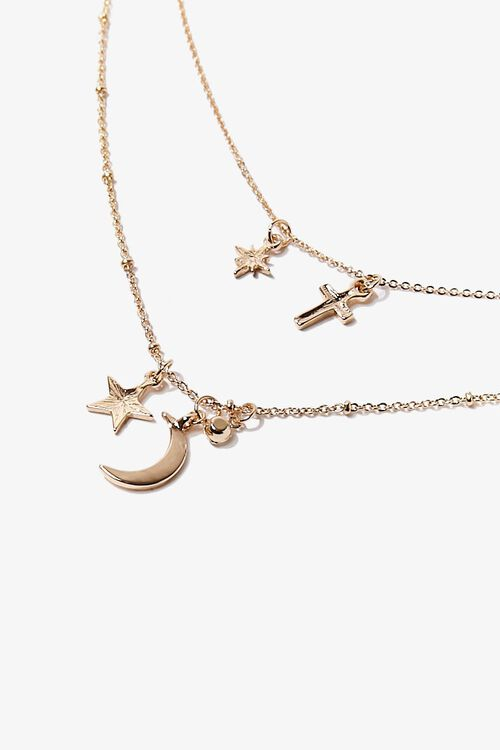 Moon & Cross Charm Layered Necklace, image 3