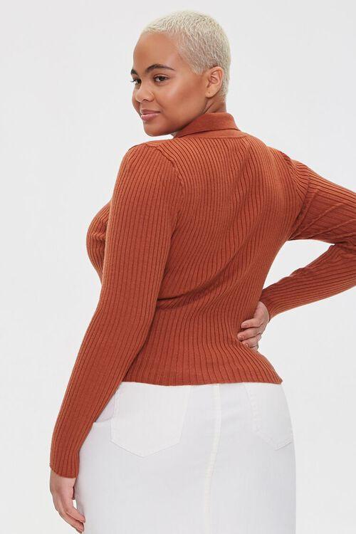 Plus Size Collared Zip-Up Cardigan, image 3
