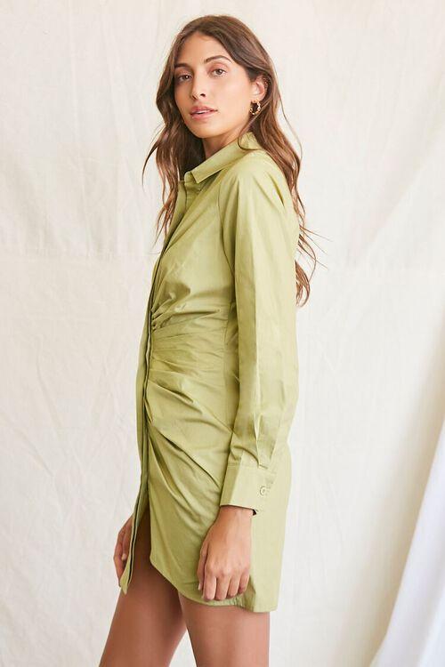 LIGHT OLIVE Ruched Shirt Mini Dress, image 2