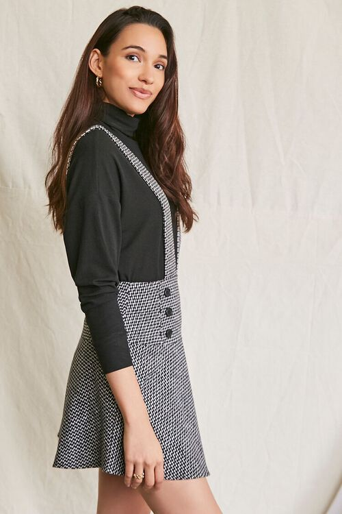 BLACK/MULTI Double-Breasted Mini Pinafore Dress, image 2
