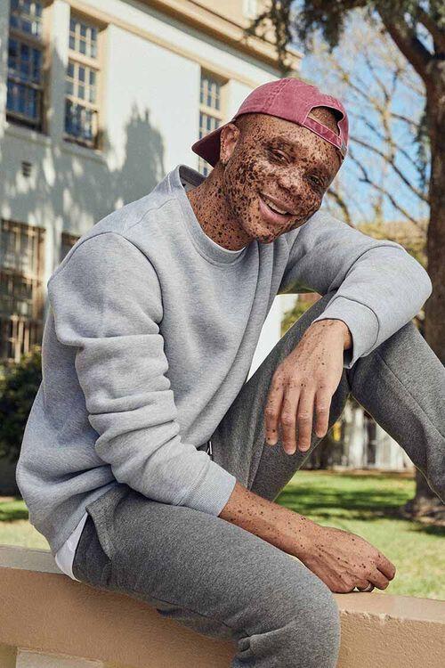 Heathered Fleece Crew Neck Sweatshirt, image 1