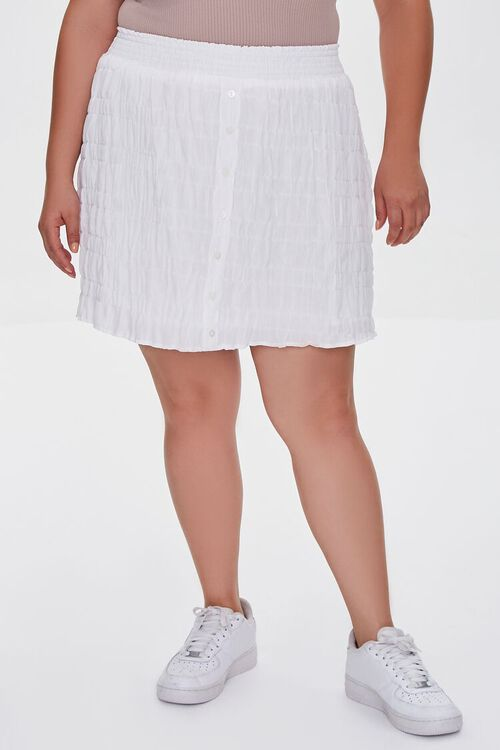 Plus Size Tiered Buttoned Mini Skirt, image 2