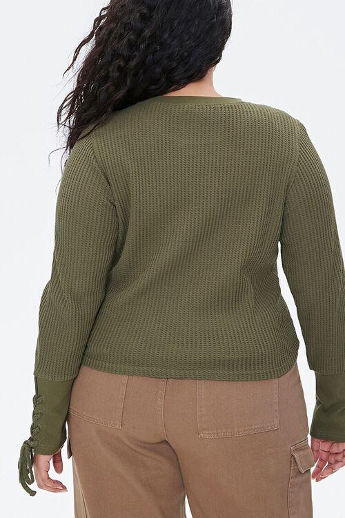 Plus Size Lace-Up Waffle Knit Top, image 4