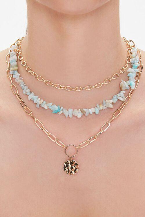 GOLD Hammered Pendant Puka Shell Necklace, image 1