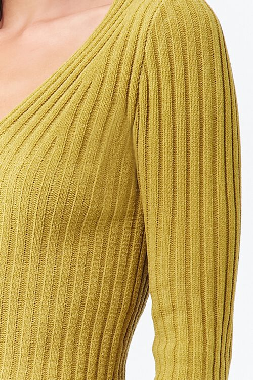 Ribbed Knit V-Neck Top, image 5