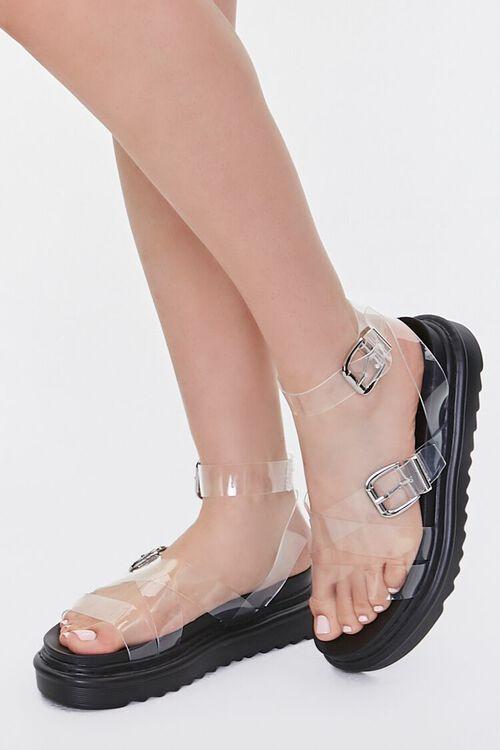 Transparent Dual-Buckle Flatform Sandals, image 1