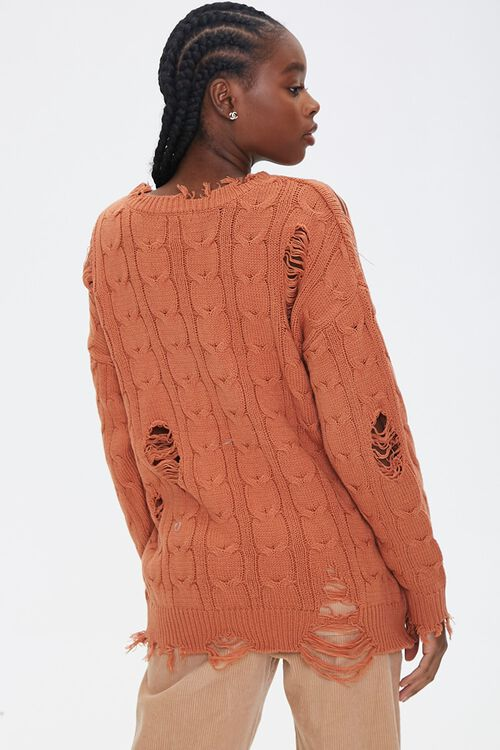 Distressed Cable Knit Sweater, image 3